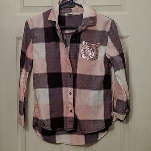 Arizona Jeans Co plaid shirt for girls